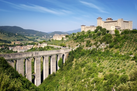 Aqueduct in Spoleto, Ponte delle Torri  Umbria, Italy photo