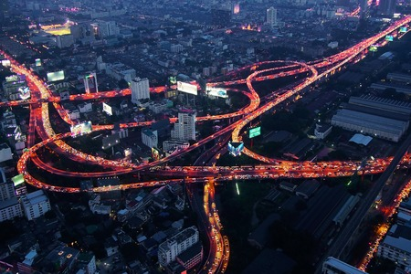 interstate: Night in Bangkok, Thailand. Cityscape with roads.