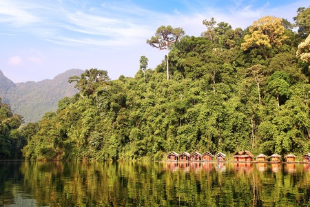 Floating village on Cheow Lan Lake  Thailand photo