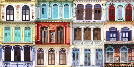 casa colonial: Collage de las antiguas ventanas únicas. Melaka, Malasia