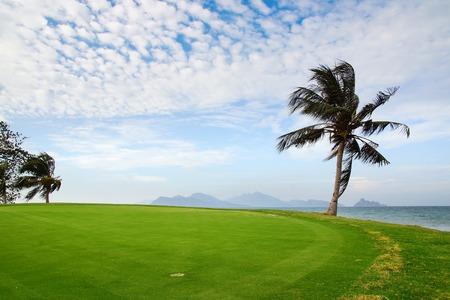 Panoramisch uitzicht over de golfbaan en palmbomen.