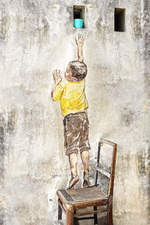 ernest: Reaching Up Mural by Ernest Zacharevic. Georgetown, Malaysia