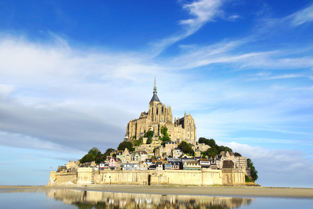 tides: Landscape with Mont Saint Michel abbey  Normandy, France  Stock Photo