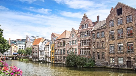 Historic buildings along the Leie river.  Ghent , Belgium