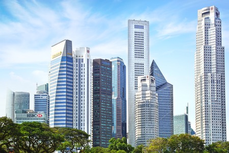 central bank: Singapore. View includes next buildings: Maybank, Capital Tower, Overseas Bank Plaza, OUB Centre, UOB Plaza One, OSBC, SingTel and ect.