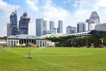 medow: Singapore Cricket Clug with the skyline. View includes Suntec City Towers. Editorial
