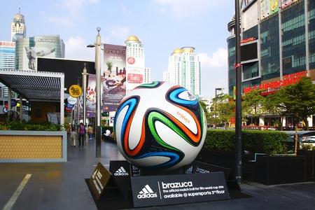 adidas: The Adidas Brazuca ball at Rama I road. Bangkok, Thailand