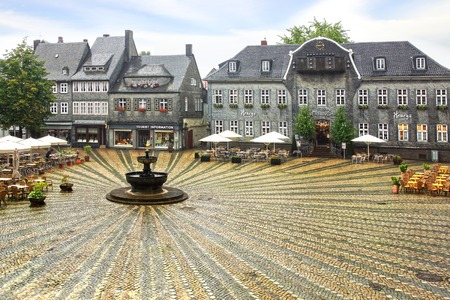 fachwerk: Old fachwerk house at medieval market square, Marktplatz.  Germany.