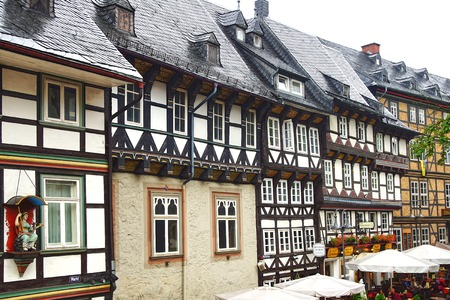 Old fachwerk house at medieval market square, Marktplatz.