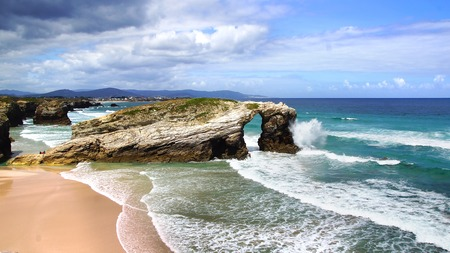 coastal erosion: Beach of the Cathedrals in Ribadeo, Galicia, Spain