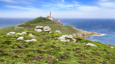 galicia: Lighthouse Cabo Vilan at Coast of Death, Galicia, Spain Stock Photo