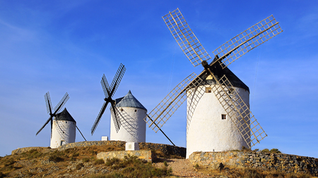 Windmills in Consuegra province of Toledo, Castile-La Mancha, Spain                                 photo
