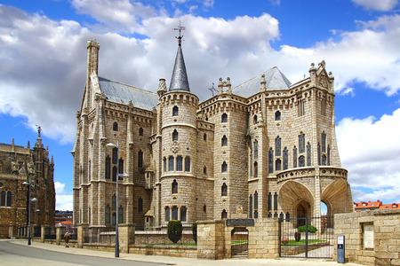 ASTORGA, SPAIN - JUNE 07, 2014: Episcopal Palace. The Episcopal Palace is a building by Catalan architect Antoni Gaud?. It was built between 1889 and 1913. Designed in the Catalan Modernisme style.