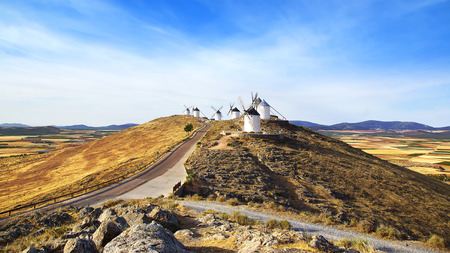 don quixote: Windmills in Consuegra province of Toledo, Castile-La Mancha, Spain