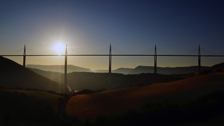 millau: The Millau Viaduct in Aveyron Departement, France Stock Photo