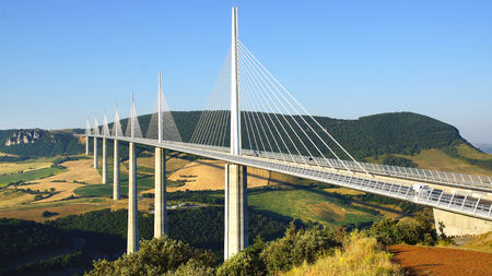 The Millau Viaduct in Aveyron Departement, France Stock Photo