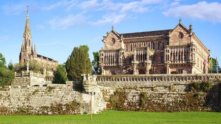 neo gothic: The Neo Gothic Palacio de Sobrellano in  Comillas, Spain                              Stock Photo