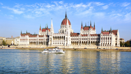 best known: The worldwide best known building of Budapest, the Hungarian Parliament, completed in 1904. Stock Photo
