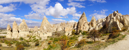 Picturesque rural landscape with limestones, Cappadocia in Turkey.
