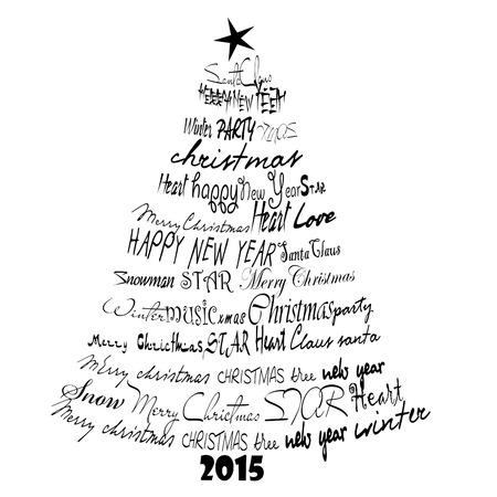 Christmas Card 2015. Abstract font Christmas tree. photo