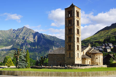 Belfry and church of Sant Climent de Taull, Catalonia, Spain. photo
