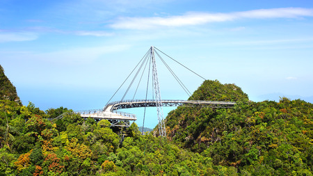 bracing: Curved pedestrian cable stayed bridge. Langkawi, Malaysia.