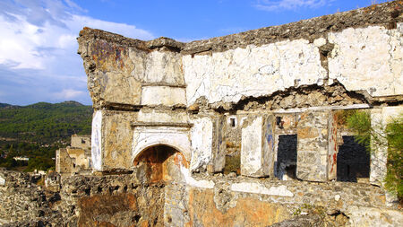 makri: Ghost Town, village of Kayakoy in Turkey, abandoned houses in the hills