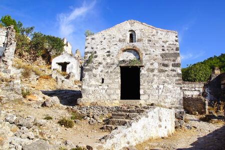 kaya: Ruins of Temple in ancient Greek city Kayakoy in Turkey. Stock Photo