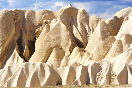 limestone caves: Picturesque landscape with Fairy chimneys, Cappadocia in Turkey.