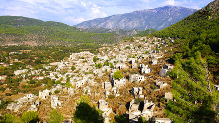 Ghost Town, village of Kayakoy in Turkey, abandoned houses in the hills