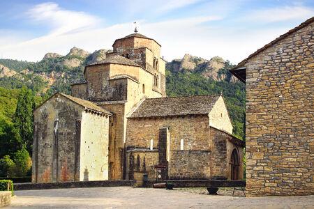 romanesque: Santa Cruz de la Seros, romanesque church in Aragon, Spain Stock Photo