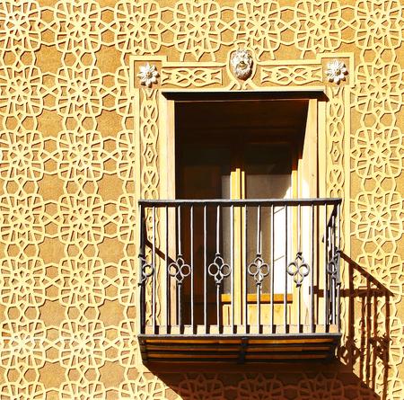 spanish ethnicity: Moorish floral wall decoration in Segovia, Spain Stock Photo