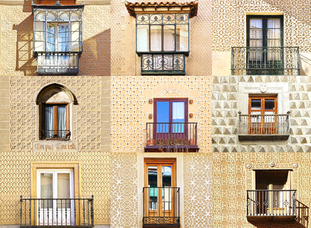 colonial: Collage of the ancient unique windows of Segovia, Spain