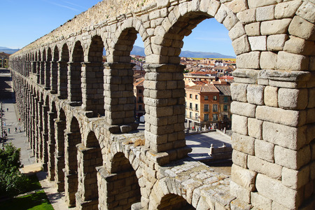 segovia: The Roman Aqueduct of Segovia. Segovia, Spain Stock Photo