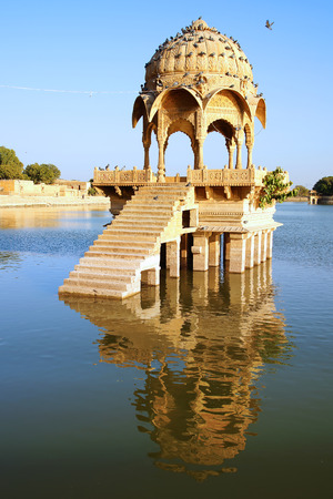 madhya pradesh: The picturesque landscape with cenotaph. Jaisalmer, India