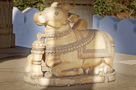 nandi: The sacred cow in cenotaph. Udajpur, India.