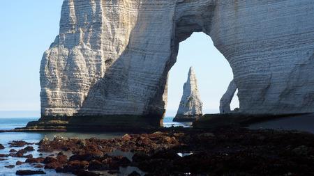 Chalk cliffs at Cote dAlbatre. Etretat, France photo