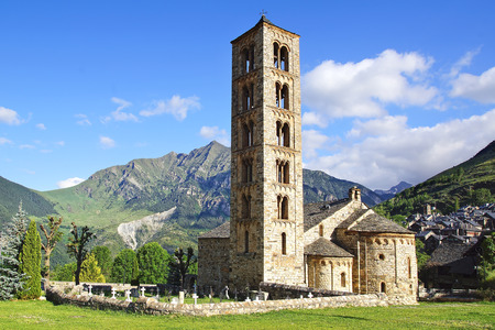 pantocrator: Belfry and church of Sant Climent de Taull, Catalonia, Spain.