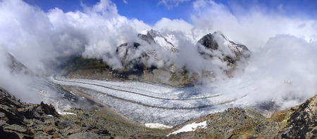 aletsch: Aletsch glacier, the largest gracier in Alps, UNESCO herritage, Switzerland, Europe