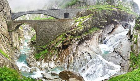chasm: Devils bridge at St. Gotthard pass. Switzerland