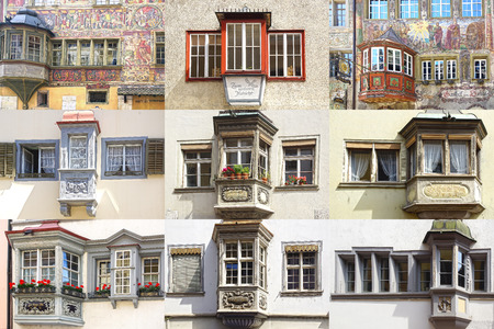 rhein: Collage of the ancient unique windows of Stein am Rhein and Schaffhausen, Switzerland