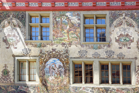 pelikan: House Pelican (Zum Pelikan). Stein am Rhein in Switzerland.