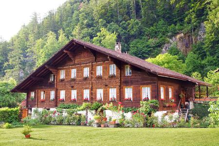chalets: The beautiful  landscape with chalet in Meiringen. Switzerland
