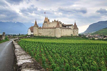 schloss: The beautiful mountain landscape with Aigle Castle in Switzerland.