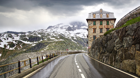 pass on: Furkapass with Belvedere Hotel, canton Graubunden, Switzerland.