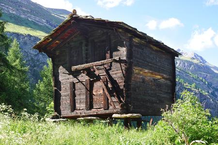zermatt: The beautiful  landscape with old barn near Zermatt. Switzerland