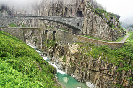 Devils bridge at St. Gotthard pass. Switzerland