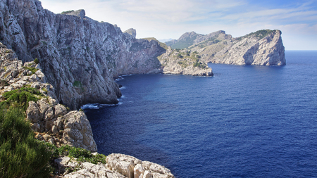 lagoon: Cape Formentor, Panoramic View. Mallorca, Balearic Islands in Spain