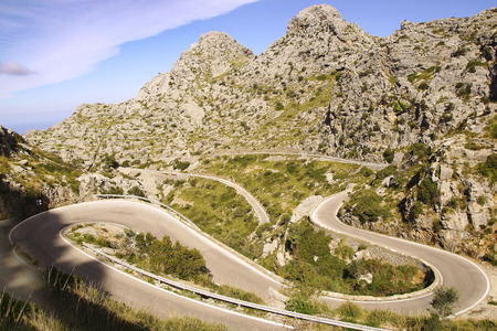 Picturesque landscape with mountain road to Sa Calobra.   Mallorca Imagens - 48554681