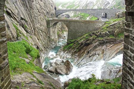 ancient pass: Devils bridge at St. Gotthard pass. Switzerland
